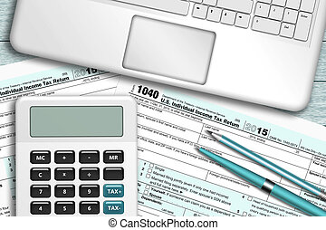 calculator with tax form 1040 lying on wooden desk -...