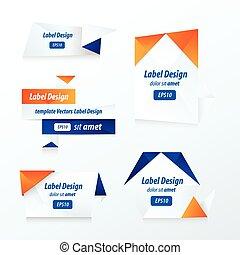 Labels collection set blue and orange