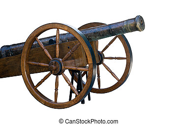 the Old cannon - Ancient wheeled cast iron cannon isolated...