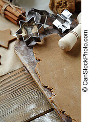 gingerbread dough and cutters, cooking