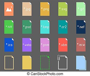 Set of Image File Extension icons - Set of icons on the...