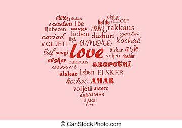 Love heart vector calligraphy word