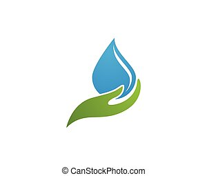 Hand and water droplet - water droplet element icons...