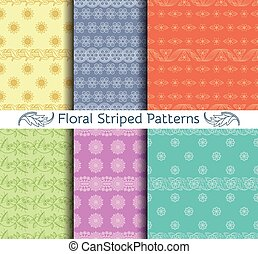 Vector set of seamless floral