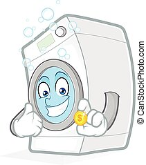 Washing machine holding a coin - Clipart picture of a...