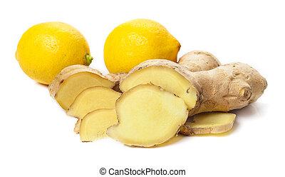 Fresh ginger and lemon