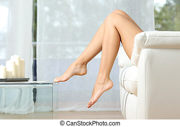Perfect woman legs hair removal concept - Profile of a...