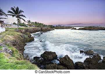 Coast - Fishing village in Dominican Republic - landscape...