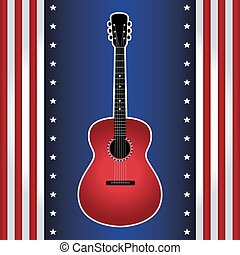 guitar on USA flag style bckground - Vector illustration of...