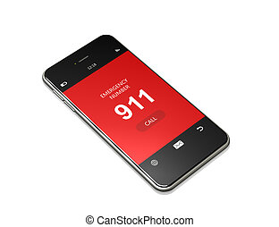 mobile phone with 911 emergency number lying on white...