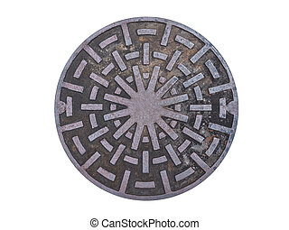 Metal drain lid on isolated background (and abstract...