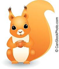 squirrel with hazelnut - Vector three dimensional...