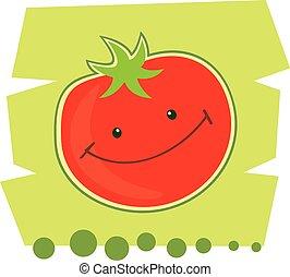 Funny cartoon tomato.