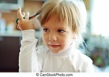 Cute little girl with scissors - Cute toddler girl with...