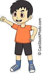 Little boy cartoon with one hand up