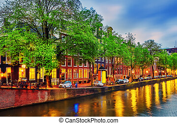 Beautiful Amsterdam city at the evening time