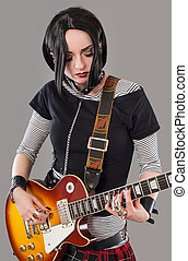 Guitar girl - Gothic young woman with her hot guitar