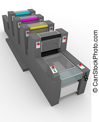 industrial printing press - Side view of an industrial...