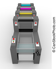 printing press cmyk rollers - Printing press with cmyk...