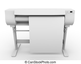 Plotter in frontal view - Plotter CMYK and RGB professional...