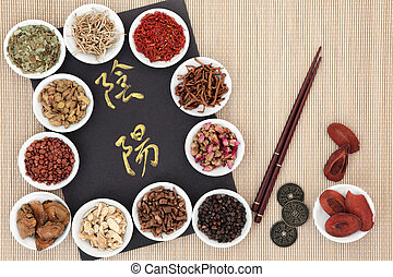Yin and Yang Chinese Herb Selection - Yin and yang symbols,...