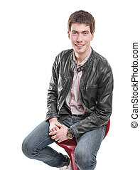 Young man in leather jacket - Young man in leather jacket...