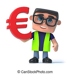 3d Health and safety officer holds Euro currency symbol - 3d...