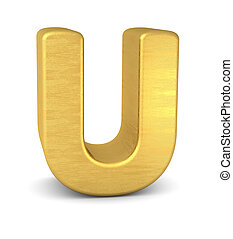 3d letter U gold