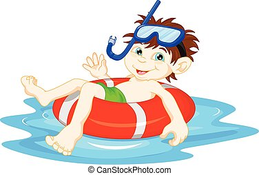 little Boy diver with lifebuoy
