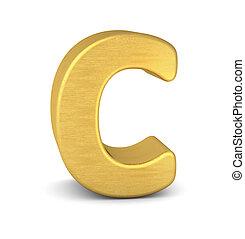 3d letter C gold