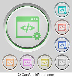 Web development push buttons - Set of color Web development...