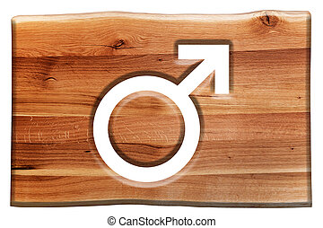 Male symbol cut in wooden board isolated on white. Natural...