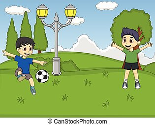 Kids playing soccer in the park