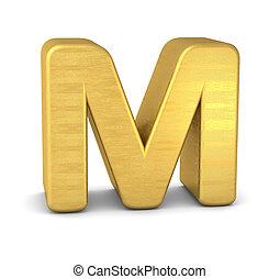 3d letter M gold
