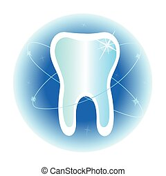Dental care symbol icon - Healthy white tooth protected...