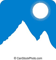Mountains - White mountain landscape icon Vector...