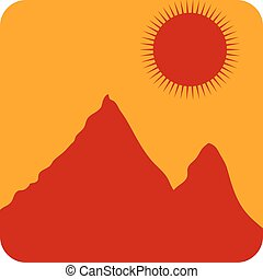 Mountains. - Mountain landscape at sunset icon. Vector...