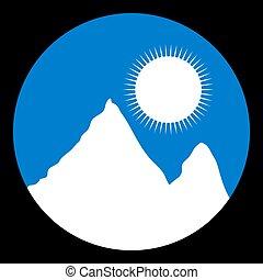 Mountains. - White mountain landscape icon. Vector...