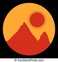 Mountains - Mountain landscape at sunset icon Vector...