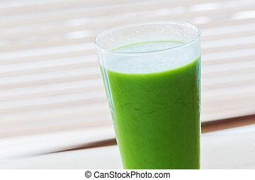 fresco, jugo, De, verde, vegetales, y, fruits., sano,...