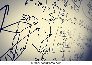 Complex math formulas on whiteboard Mathematics and science...