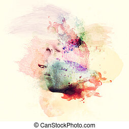 Man face in watercolor painting, profile view Concept of...