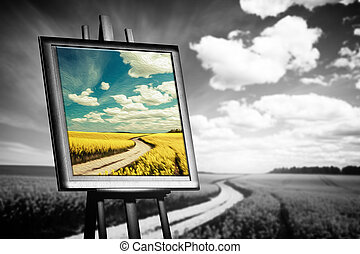 Landscape picture painted on canvas against black and white...
