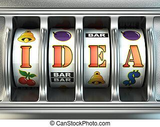 Idea concept. Slot machine with text. 3d