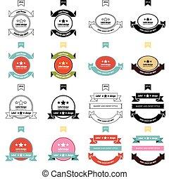 Retro style label 4 Styles set