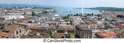 Geneva - Wide aerial panorama of Geneva, Switzerland.