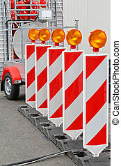 Road Works Lights - Road Works Barrier With Amber Beacon...