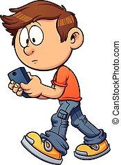 Texting while walking - Cartoon boy texting while walking...