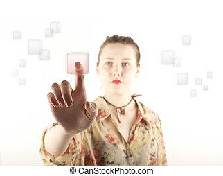 Girl pushing the button - Girl pushing the virtual button