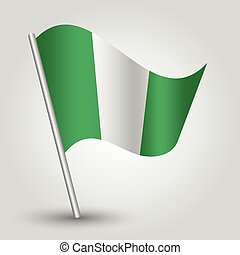vector waving simple triangle nigerian flag on slanted pole...